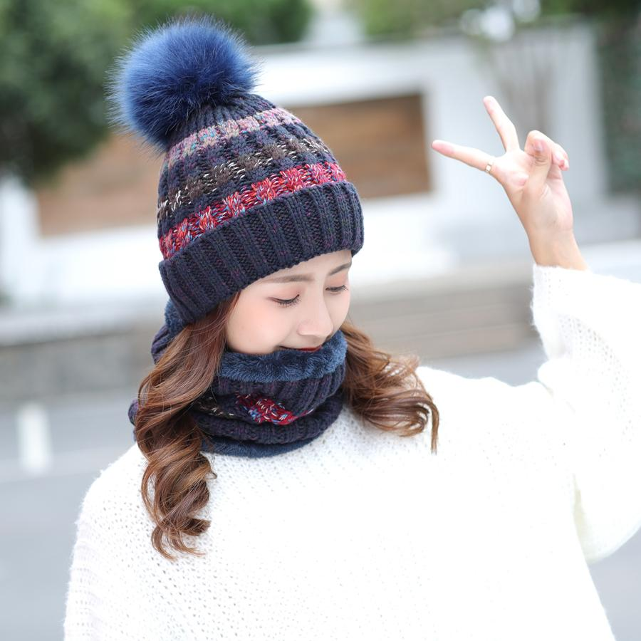 200568eb0cf 2019 YWMQFUR Winter Vintage Knit Fur Hat Scarf Sets For Women Fashion Lady  PomPom Skullies Hats Female Warm Ring Scarves New Arrival From Frenky