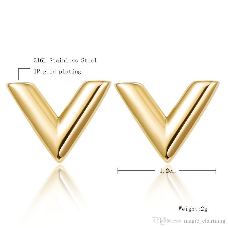 Kadınlar Için 316L Paslanmaz Çelik Küpe Gül Altın renk Marka V Mektup Üçgen Sevimli Damızlık Küpe Takı Hediye