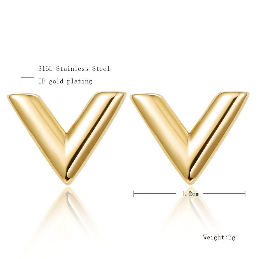 Orecchini in acciaio inox 316L le donne Rosa oro-colore marca V lettera triangolo carino orecchini gioielli regalo