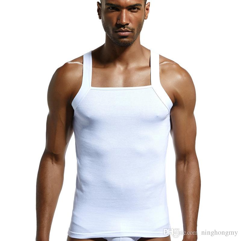Fitness Men Sleeveless Tops Cotton Tank Top Singlet Bodybuilding Sport Undershirt Clothes Gym Vest Muscle Singlet for