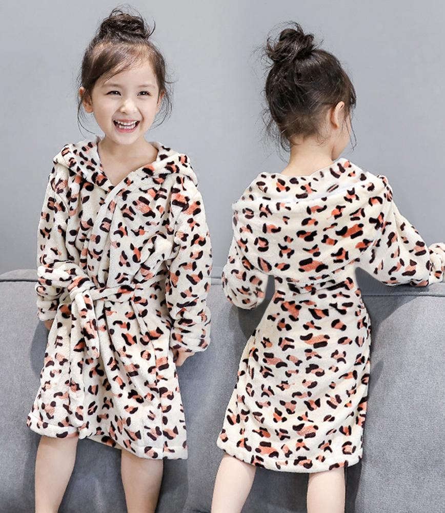 ff4c7c9b9e0c Girls Bathrobe Fashion Leopard Print Cotton Hooded Long One Piece ...
