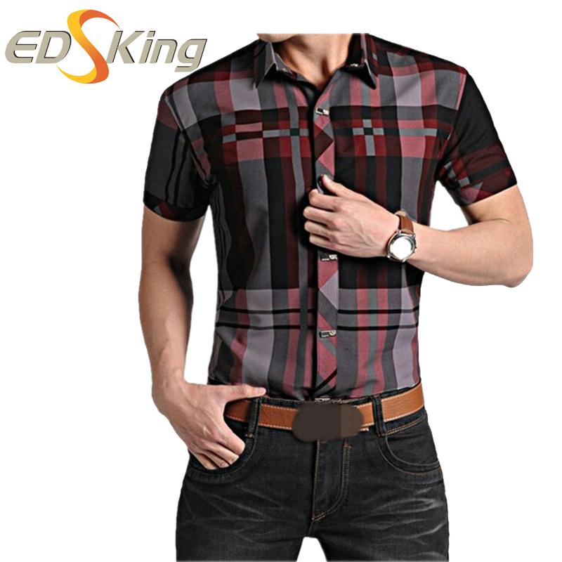 615dc7082bc 2019 Mens Short Sleeve Shirts Plaid Print Dress Man Social Checkered Shirt  Imported Male Clothes For Slimming Blouses Brand Luxury From Xiatian8
