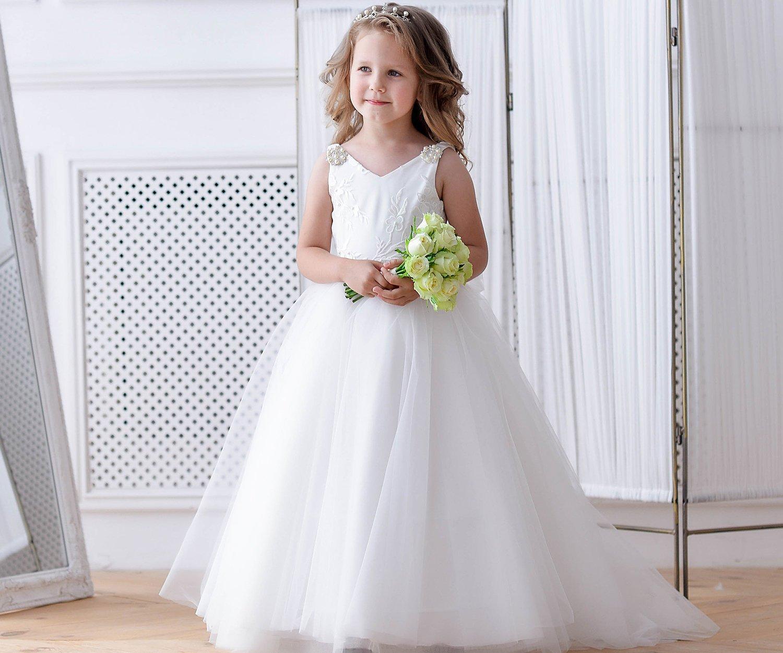 d32bdd825 Ivory Flower Girl Dress Junior Bridesmaid Wedding Little Baby Girl ...