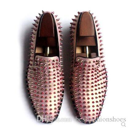 7ccfe3ea217b8 Mens Shoes Rose Gold Loafers Spike Studded Slip On Leather Flat red bottom  fashion men bota shoe white Spring Autumn Wedding Dress Shoes