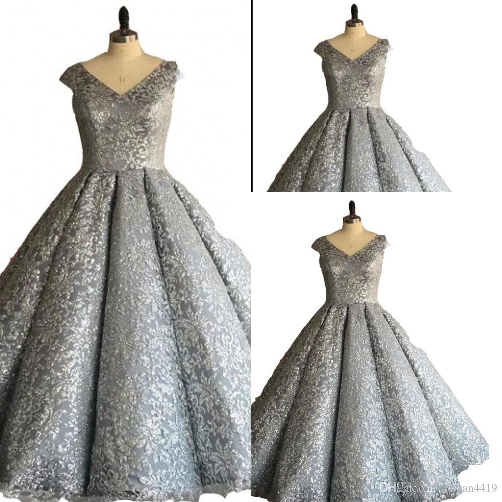 313f45be54a 2018 Silver Gold Luxury Evening Dresses V Neck Ball Gown Cap Sleeves Lace  Appliques Beaded Zipper Back Puffy Floor Length Prom Party Gowns Mermaid  Evening ...