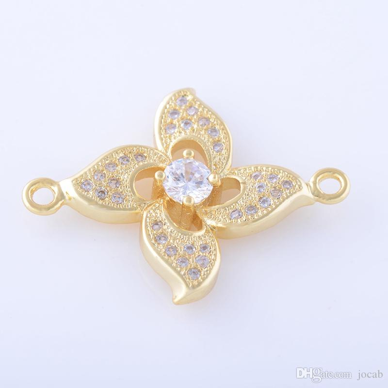 Wholesale Handmade DIY Jewelry Accessories 2018 Fashion Supplier Rose Flower Connectors Charms Pendants Craft Necklace Bracelet Findings Fit