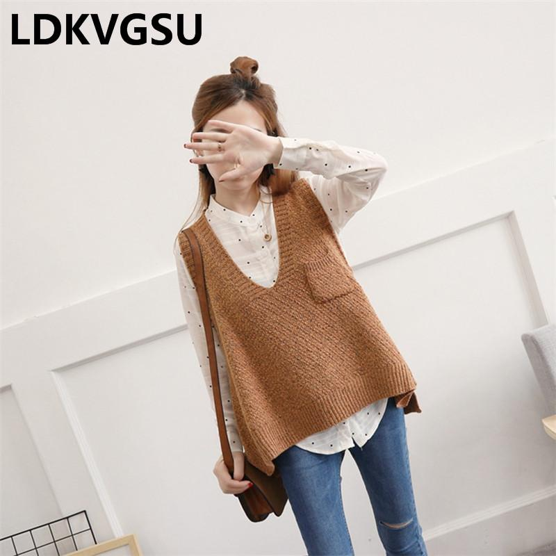 708ec6dd5557f8 2019 2018 New Autumn Winter Sweater Vest Women Sleeveless V Neck Pocket  Pullover Knitted Vest Female Casual Sweater Outside Is239 From Xiatian6