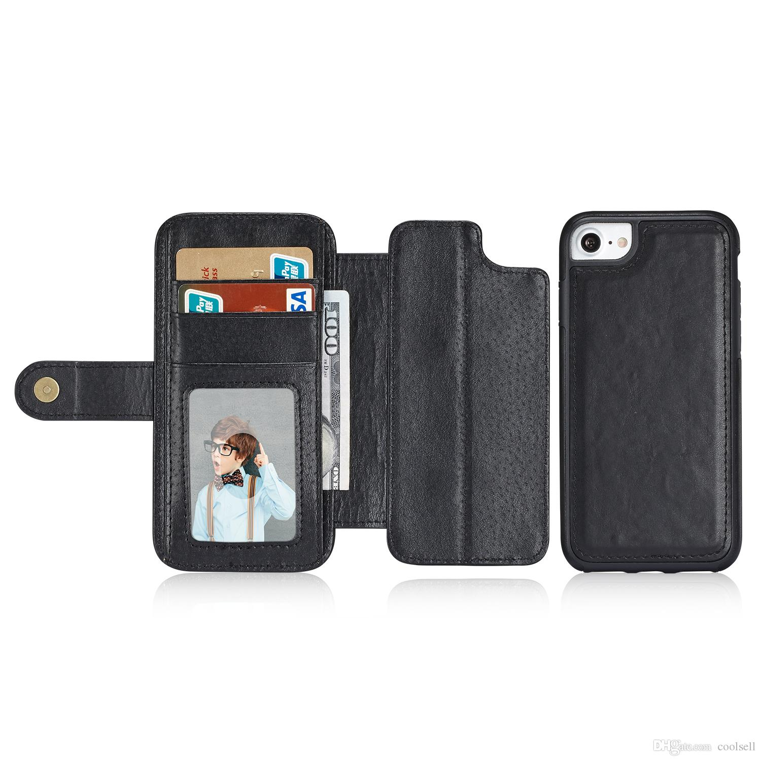 promo code b367f 7c1e2 For Apple iphone 7 Best Wallet Case 2 in 1 Detachable Magnetic Leather  Phone Case Cover with Card and Money Pocket