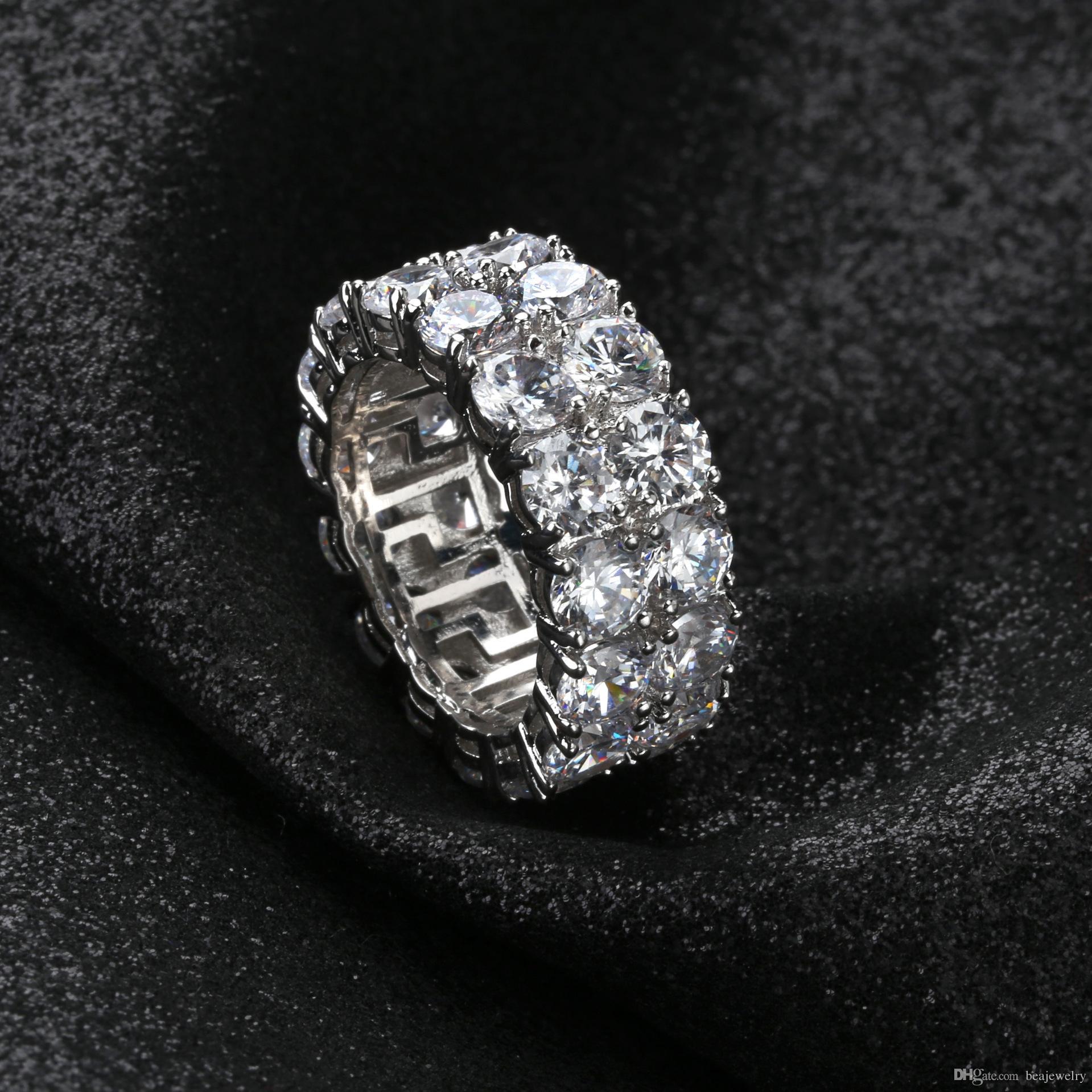 7-12 Gold Silber Farbe Überzogene Ringe Micro Gepflasterte 2 Reihe Tennisringe Zirkon Hip Hop Fingerring Für Männer Frauen