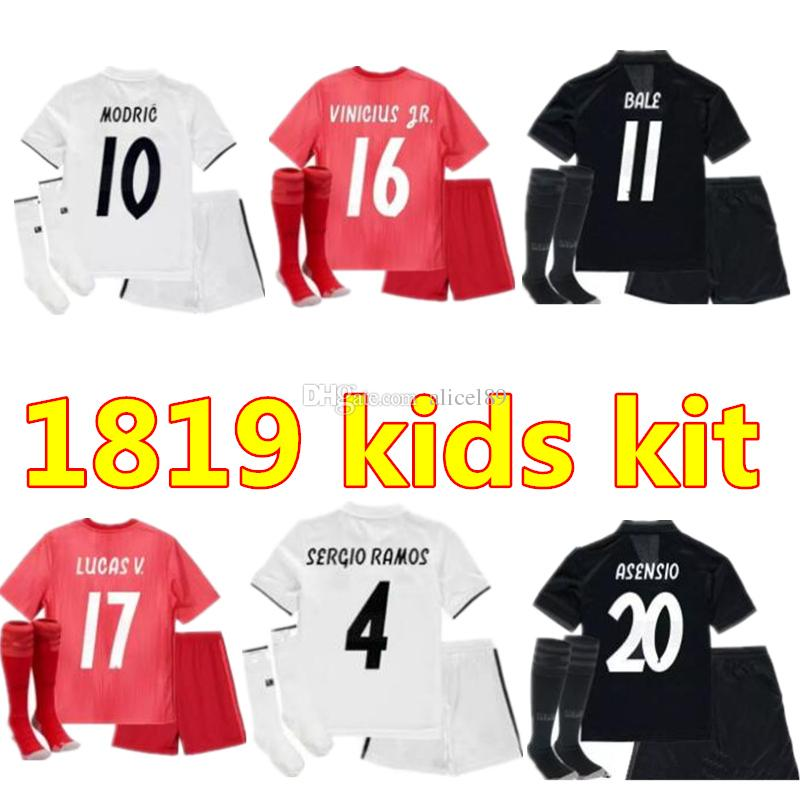 cc638edab 2019 Thai 2019 Kids Kit Real Madrid Football Jersey 18 19 Home Away Third  Boy Soccer Jerseys ISCO ASENSIO BALE KROOS Child 3rd Red Soccer Shirts From  ...