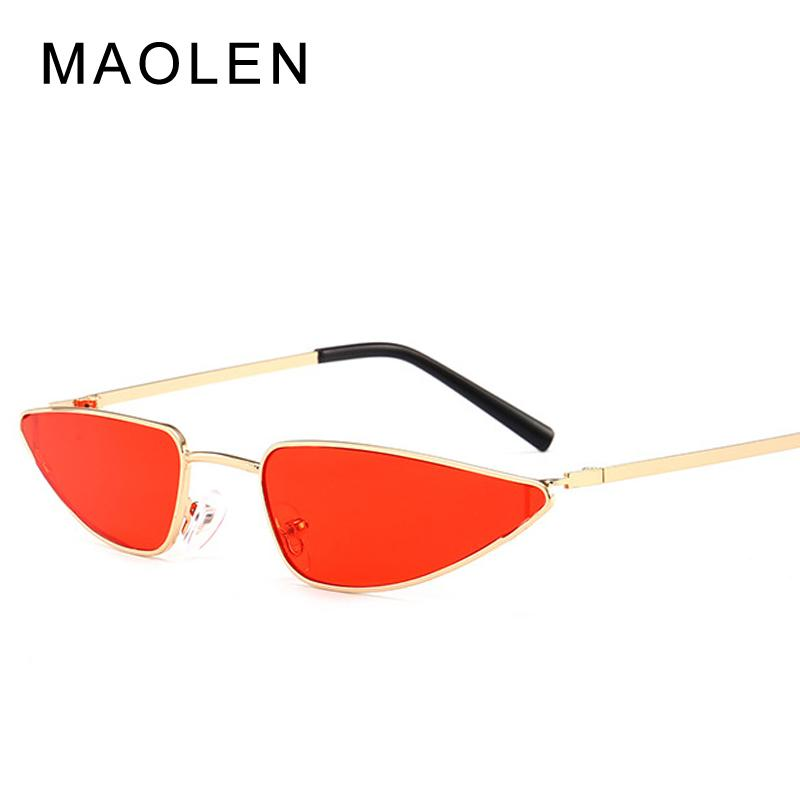 7300b2a1b9b41 MAOLEN Cat Eye Sunglasses Women One Piece Vintage Sunglass Retro Ladies Brand  Designer Sun Glasses Black Red Color Yellow Mirror Mirrored Sunglasses  Heart ...