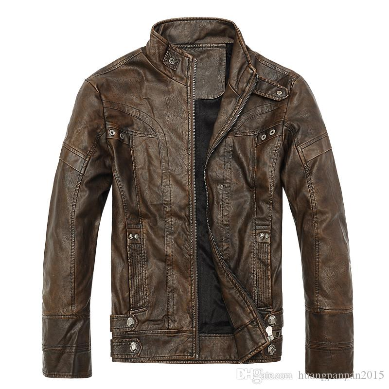 Aismz Brand Fashion Warm Winter Cool Men Standing Collar Plus Size Casual Male PU Leather motorcycle Thicken Jackets Coats