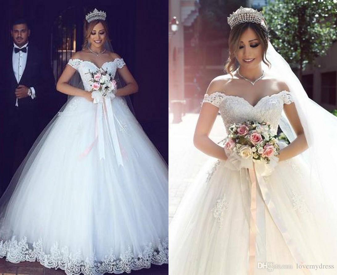 b834e83a87e8 Romantic V Neck 2018 Lace Wedding Dress Cheap Ball Gown Off The Shoulder  Short Sleeves Tulle Applique Corset Back Plus Size White Ivory Formal  Wedding ...