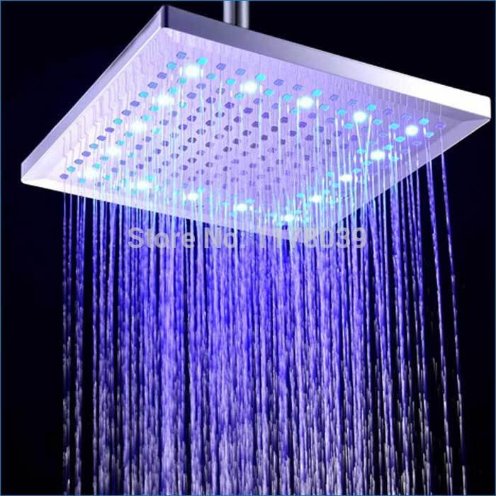 2019 Large Square Led Top Spray Shower Head Led Square Rain Shower