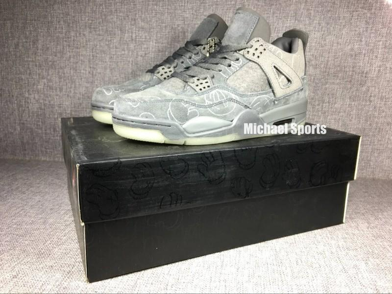 Nuevo 2018 Basketball shoes 4 Classic 4s KS Cool gris negro gamuza hombre entrenador Zapatos deportivos