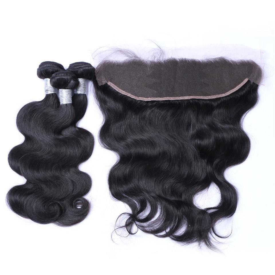 برازيلي الجسم موجة الشعر 3 حزم مع الجبهة الدانتيل إغلاق الدانتيل السويسري 100٪ الإنسان ريمي الشعر شعري الطبيعي