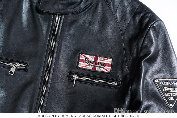 Erkek Ince deri ceket koyun derisi palto gençlik adam Harley motosiklet takım standı yaka kısa dış giyim palto