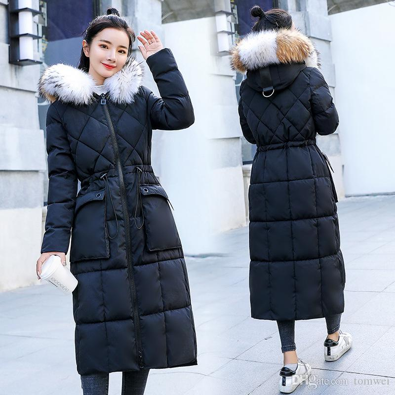 774a8fa1c 2018 Winter Jackets Womens Down Coats Real Fur Collar Long Parkas Thicken  Warm Tops Korean Style Clothing High Quality