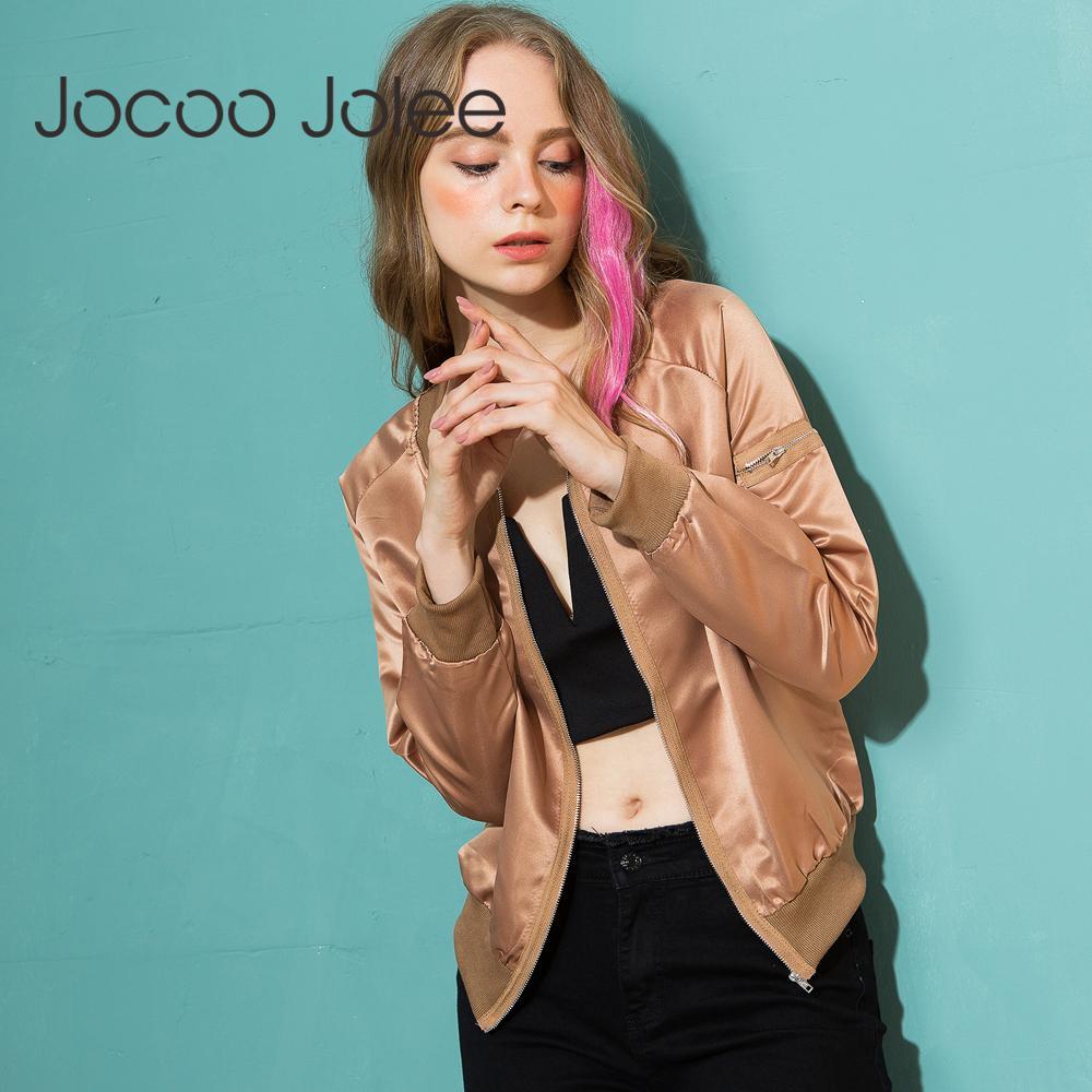 86309615bbaf Jocoo Jolee 2018 Damen Herbst Casual Jacken Damen Zipper Stehkragen Langarm  Basic Jacke Mantel Bomberjacke Outwear