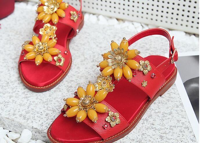 c862f7812a9b92 2018 Luxury Rhinestone Flower Flat Sandals Woman Open Toe Crystal ...