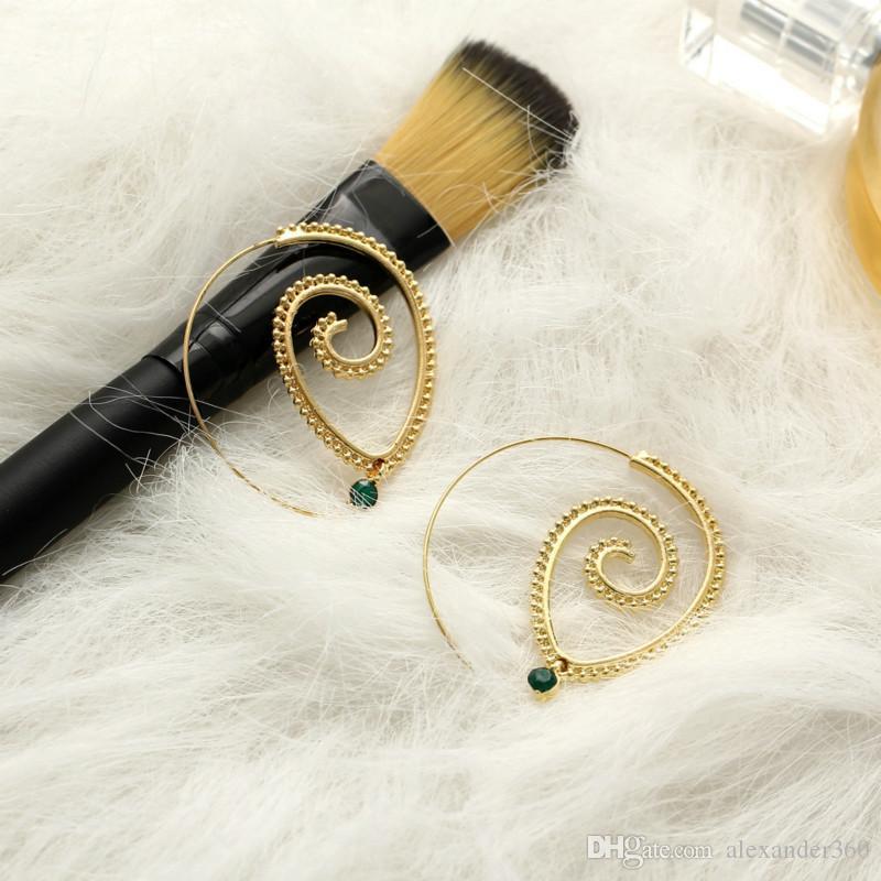 Hyperbole Gear Dangle Earrings for Women Gold Silver Spiral Type Chandelier Earrings Fashion Jewelry Holiday Gift