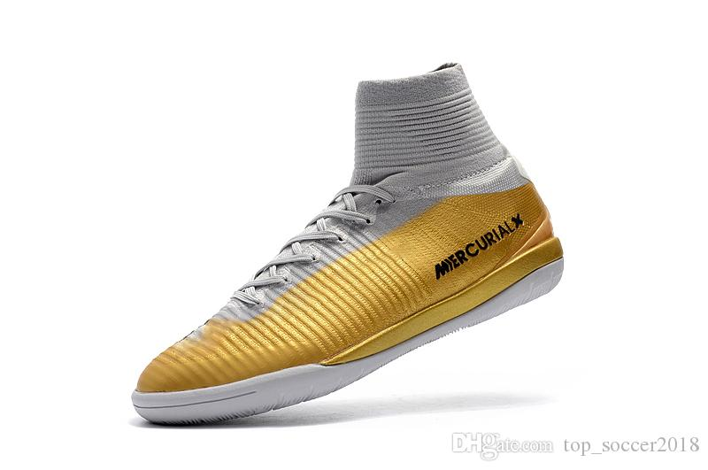 2018 Top White Gold CR7 Soccer Cleats Cristiano Ronaldo Turf Football Boots Original Mercurial Superfly V IC Mens Indoor Soccer Shoes