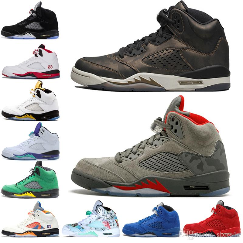 bd29ea3b9411c7 Hot 5 5s Wings International Flight Men Basketball Shoes Red Blue Suede Low  Metallic Silver Alternate 90 Men Sports Sneakers Designer Traine Basketball  ...