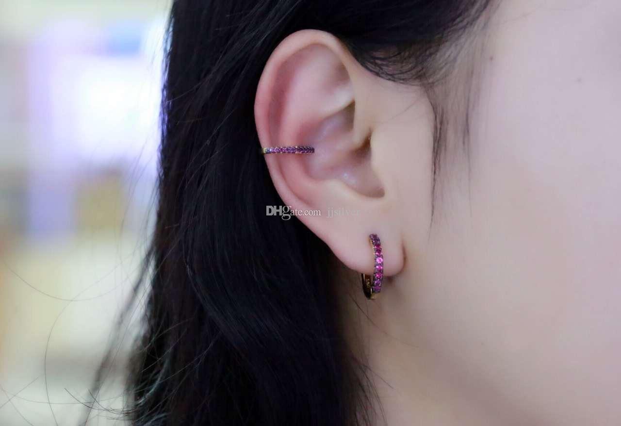 Brinco Ear Cuff Ear Clipe Zirconia Brincos Jóias Cor Pedra Para O Verão Para As Mulheres Da Moda Apenas Senhora Acessórios de Jóias de Prata Esterlina