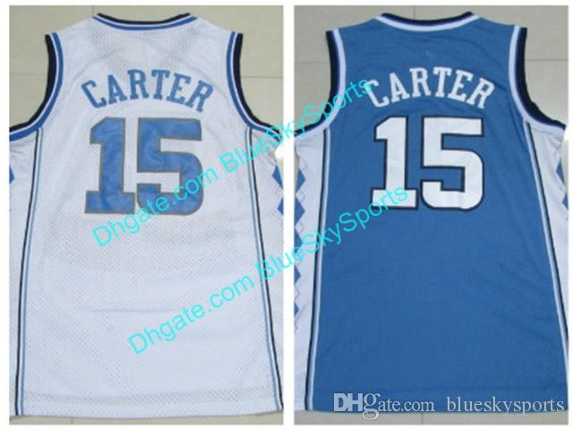 Men s Carter High Quality North Carolina College Basketball White Blue  Vince  15 Jerseys Stitched College Basketball Jersey Fast Size S-XXL North  Carolina ... 649f60c57