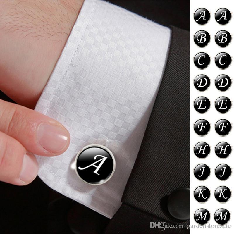 1 زوج الأعمال الأبيض على خطابات سوداء الرجال الدعاوى قميص أزرار أكمام قميص الفضة مطلي الزجاج كابوشون الزفاف الكفة الملحقات