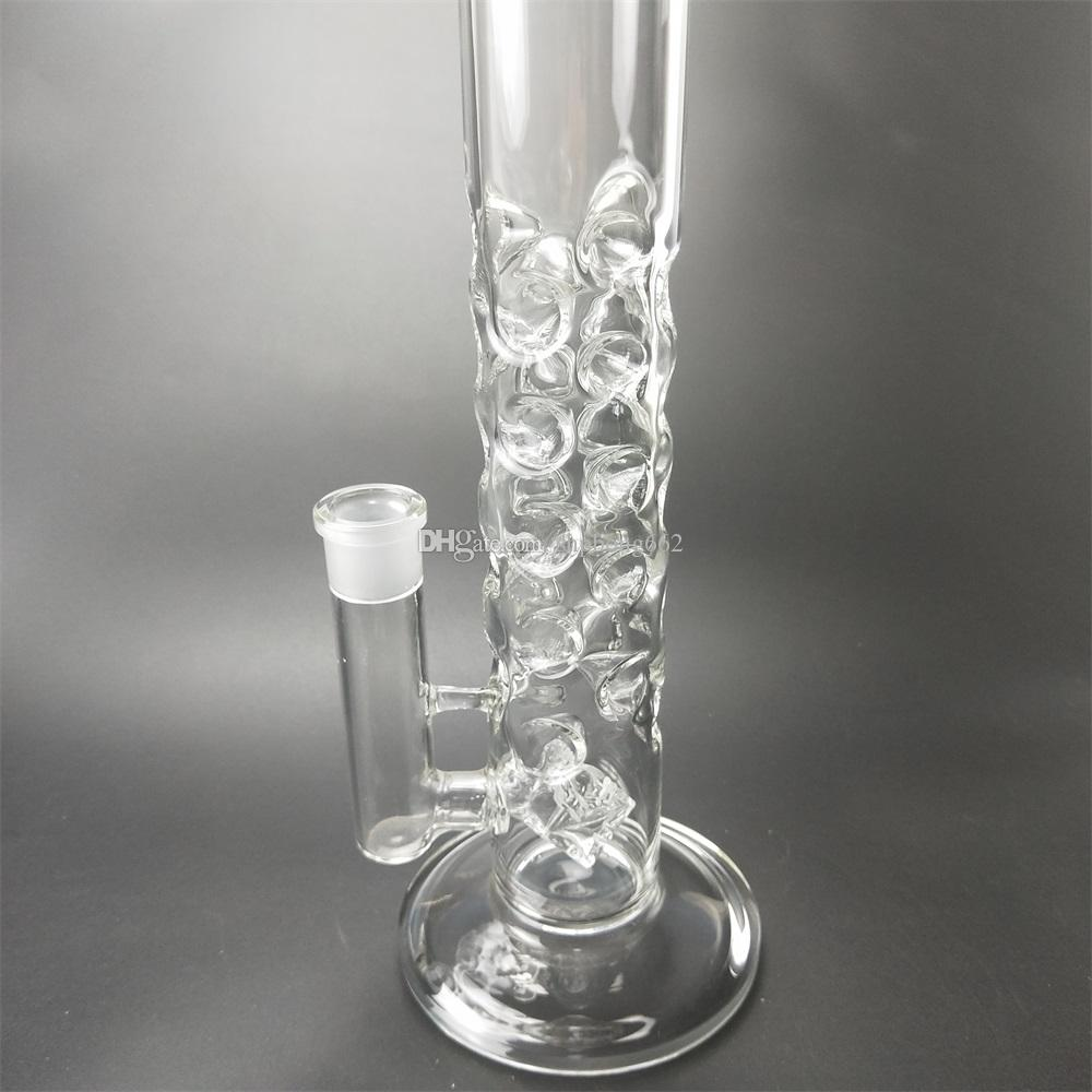 Best selling glass bong double tree perc dome percolator water pipe 39cm high water bong fresh and refined appearance fashion.