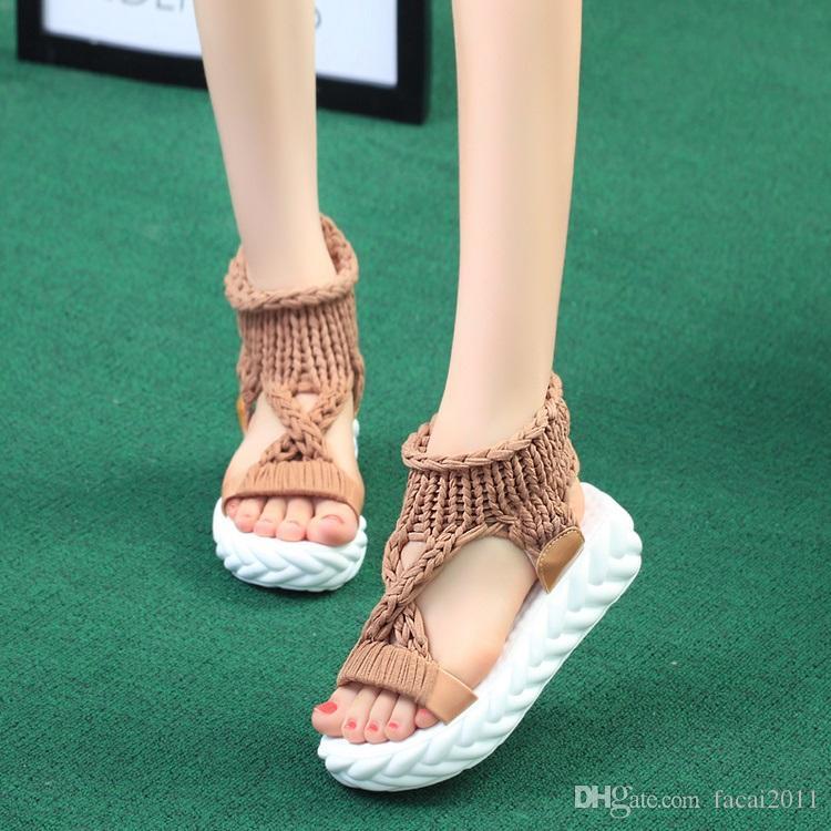 Female summer platform shoes. 2018 new Rome all-match Toe Shoes Comfort cross sandals