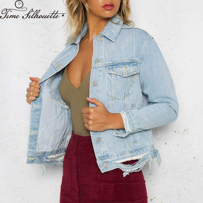 69967bddb Light Wash Denim Jackets For Girls Button Boyfriend Hole Ripped Jeans  Jackets Women Autumn Single Breasted Basic Jacket H199 Women Jackets White  Jacket From ...