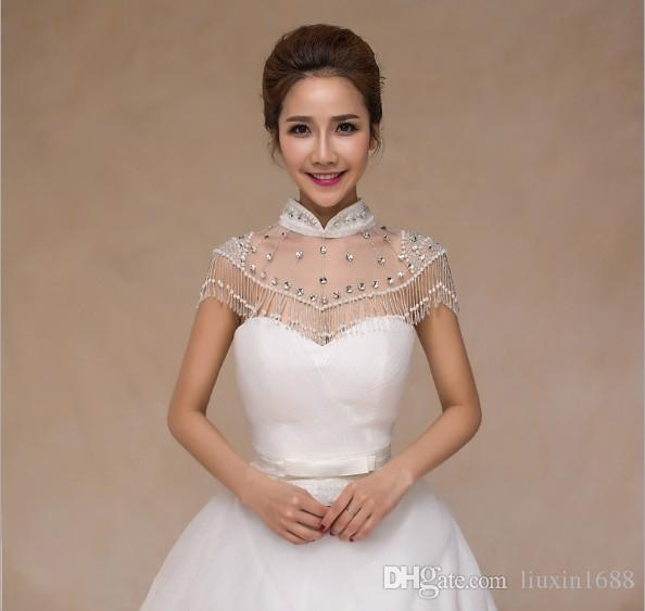 Beaded Chain shoulder lace collar new Korean high-grade bride wedding dress collocation Jewelry Crystal