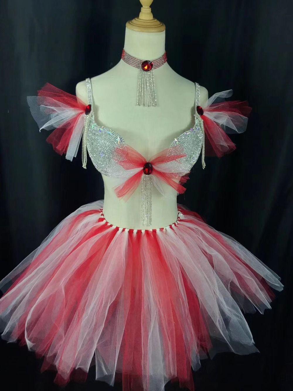 47f7c46a4f15 2019 Pink Red Dance Wear Women S Sexy Dance Tutu Dress Costumes ...