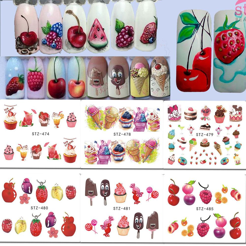 1 X Nail Art Stickers Water Decals Ice Cream/Fruit Cherry Strawberry ...