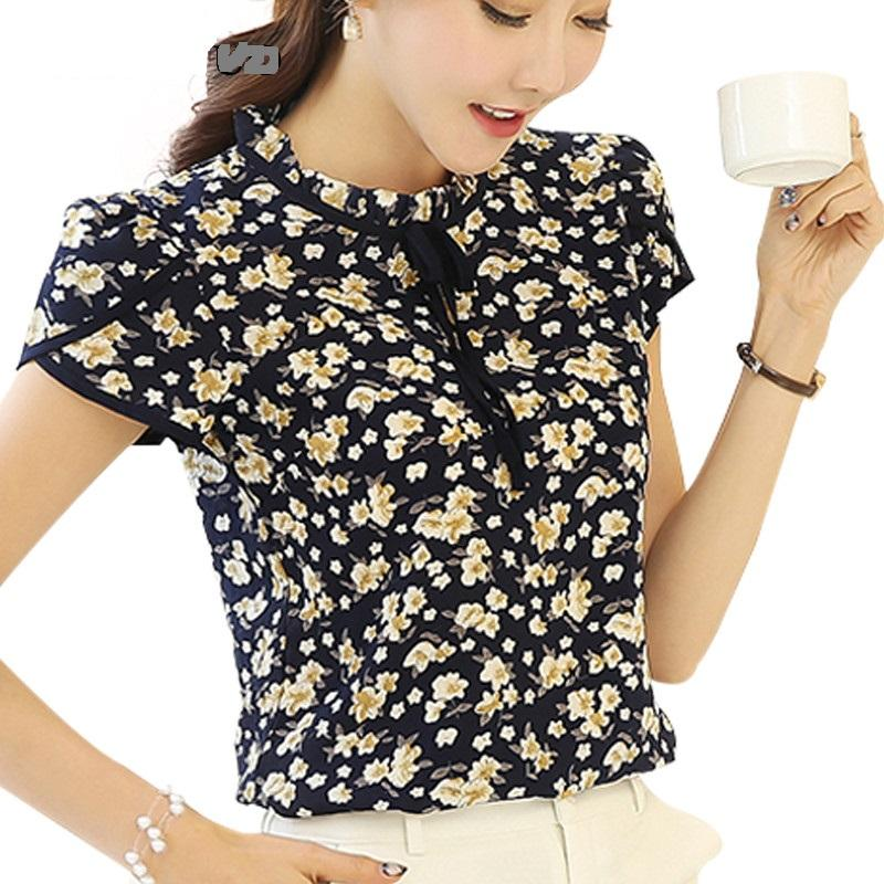 daf422088dbf7 2018 Women Summer Tops Chiffon Blouses Shirts Ladies Floral Print Feminine  Blouse Female Short Sleeve Blusas Femme Plus Size Tops From Cyril03