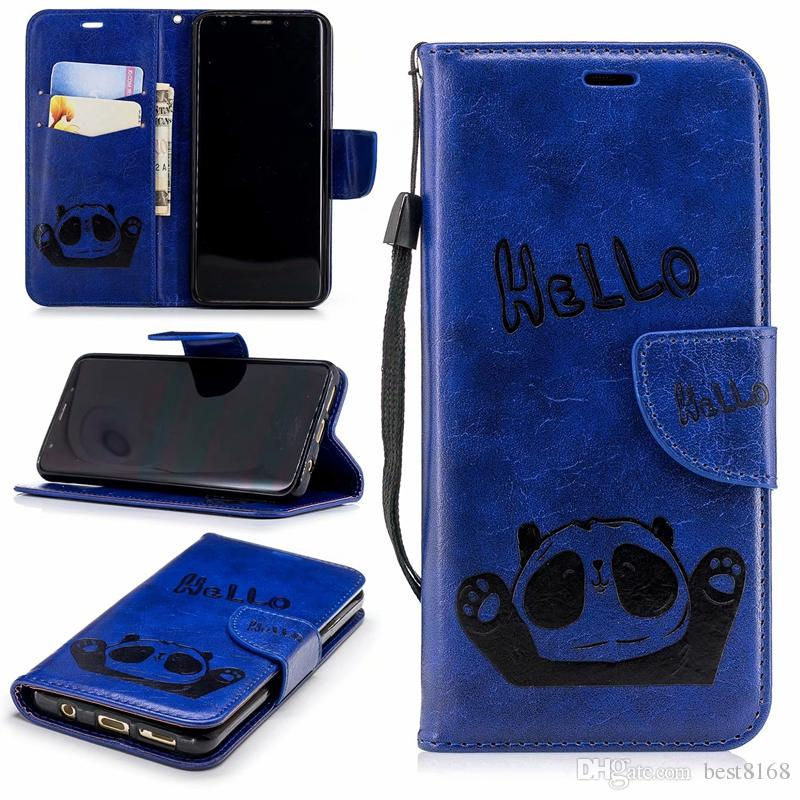 For Iphone XS MAX X XR 10 8 7 Plus 6 SE 5 HELLO Panda Leather Wallet Case Card Slot ID Cash Pocket Cartoon Flip Covers Vintage Coque+Strap