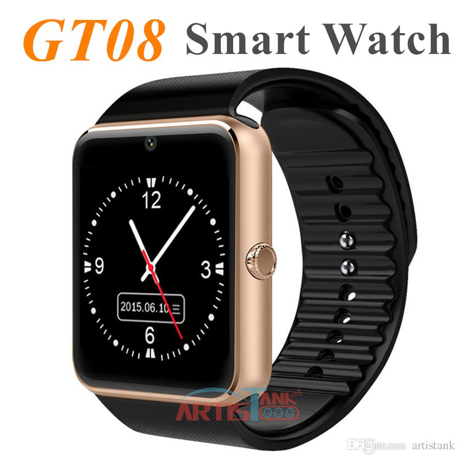 GT08 Bluetooth Smart Watch with SIM and TF Card Slot Health Watchs for Android Samsung and IOS Apple iphone Smartphone Bracelet Smartwatch