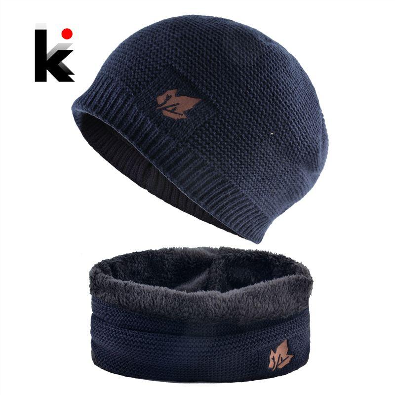5c3447f410e 2019 2018 Men Winter Hat Scarf Sets Fashion Maple Leaf Knitted Skullies  Beanies Man Thick Add Velvet Knit Bonnet Cap Boys Scarves Set From Mssweet