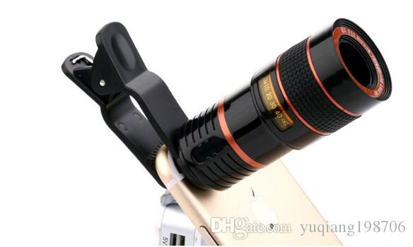 Telescope Lens 8x Zoom unniversal Optical Camera Telephoto len with clip for Iphone Samsung HTC Sony LG mobile smart cell phone DHL free