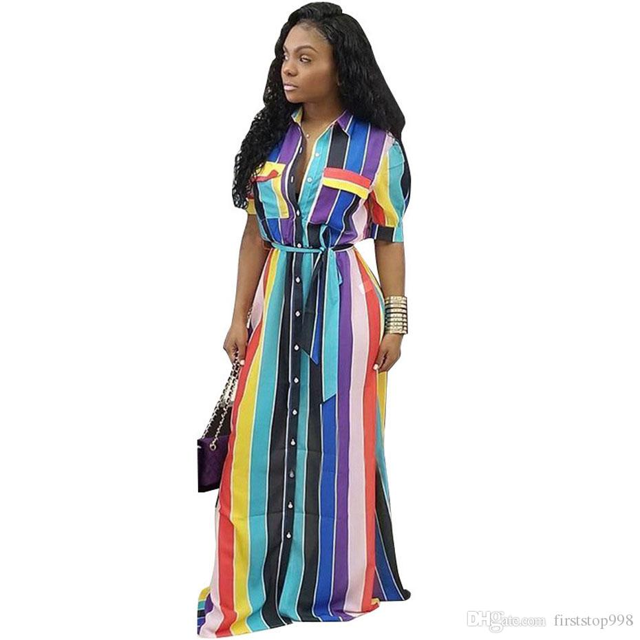 Lose Bunter Knopf Elegante Langes Frauen Herauf Partei Beiläufiges Hemd Regenbogen Taschen Herbst Gestreiftes Kleidet Maxi Kleid eWBxrdCo