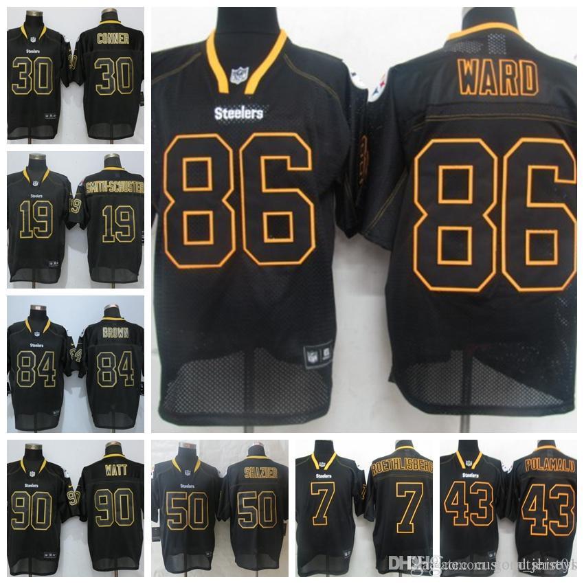 bb43f608d Men Pittsburgh Steelers Jersey 84 Antonio Brown 90 T.J. Watt 19 Juju ...