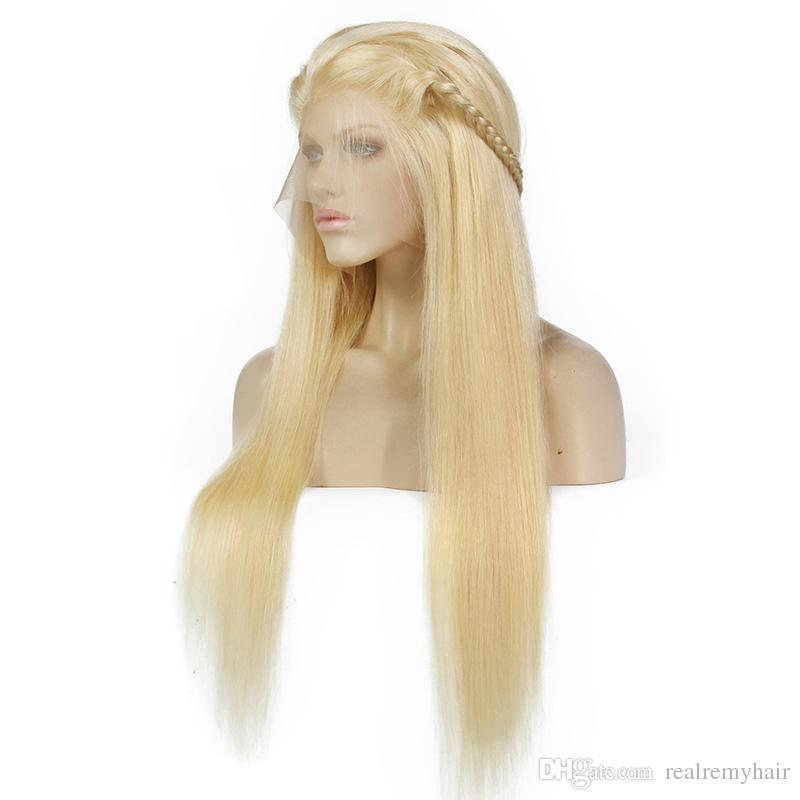 150 Densidad brasileña Honey Blonde pelucas delanteras del cordón del pelo humano Color 613 # Straight Glueless pelucas llenas del cordón del cabello humano con Baby Hair