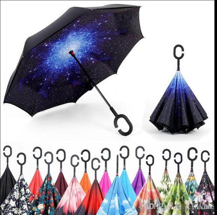 C Hand Windproof Reverse Double Layer Inverted Umbrella Inside Out