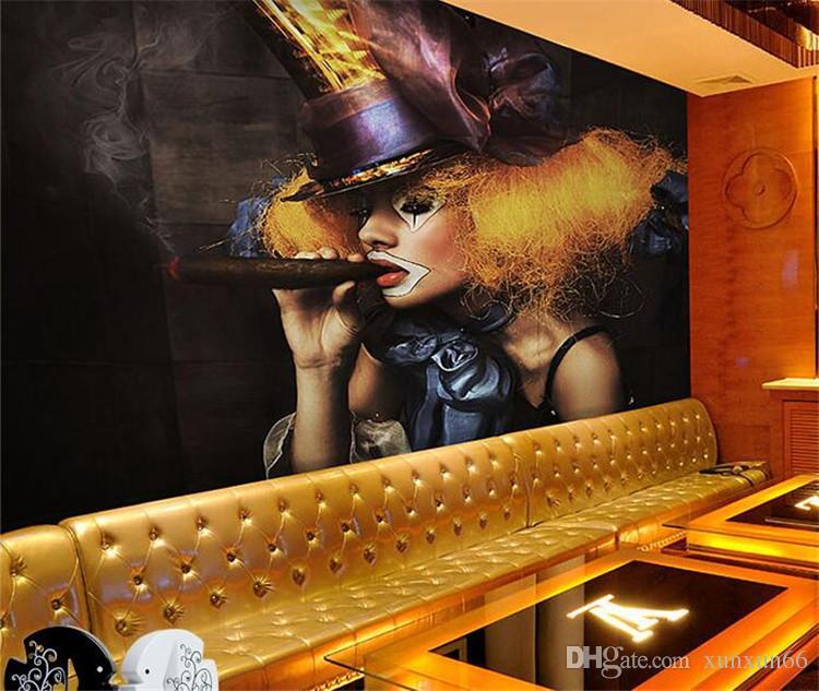 3D 섹시한 여자 흡연 디스코 나이트 클럽 바 KTV 카페 벽 예술 벽 취재 벽화 -3d 벽 종이 홈 인테리어