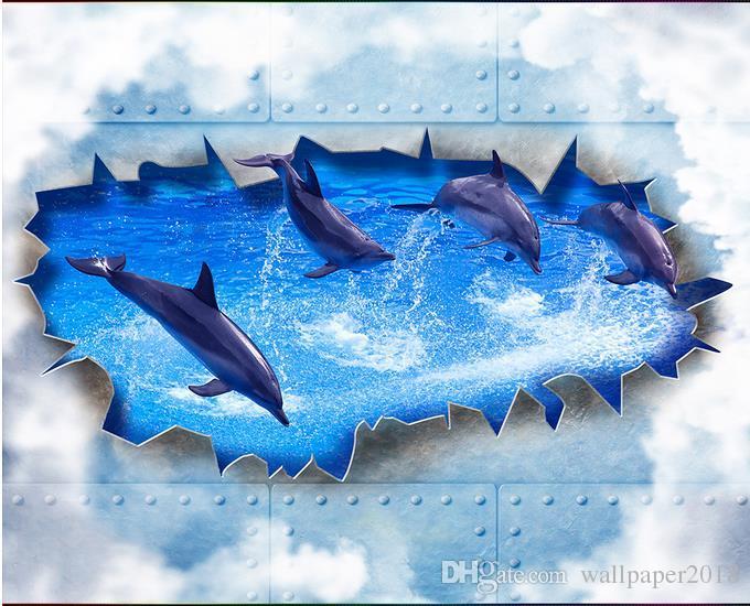 Acquista delfino che bagna la carta da parati tridimensionale del