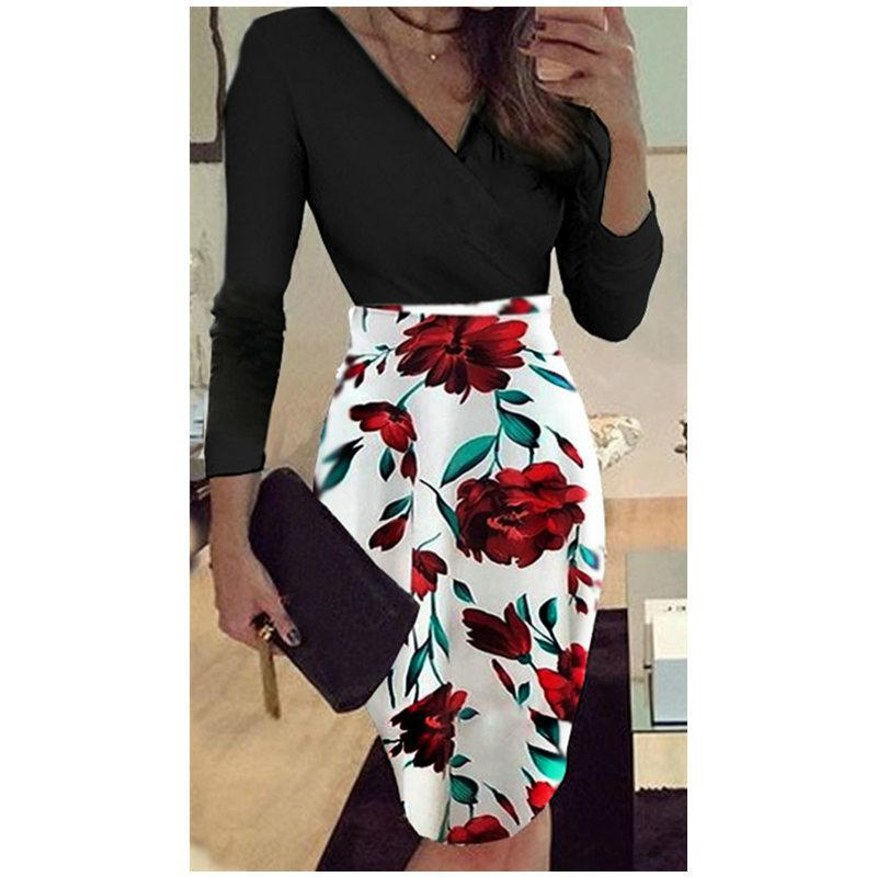 fddf5e5c1197 Office Lady Floral Printed Package Hip Mini Dress Women Skinny Deep V Neck  Party Empire Dresses Autumn Sexy Robe Plus Size M0223 Dresses For White  Party ...