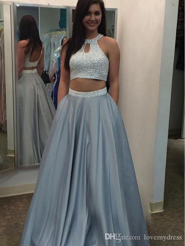4a8056ba8da Two Piece Prom Gowns Evening Dresses With Pockets 2018 Halter Top Pearls  Beads Sequins Satin Skirt A Line Party Dress Formal Gowns Junior Plus Size  Prom ...