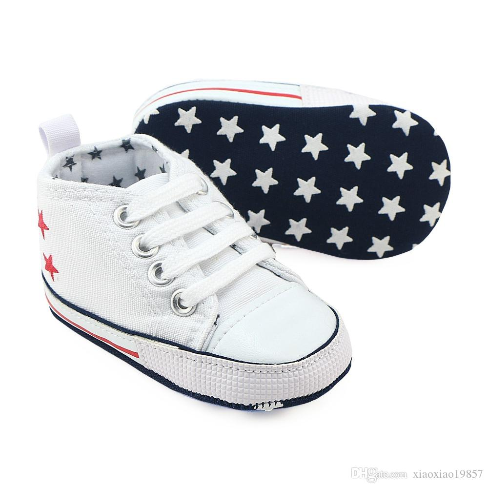 Canvas Newborn Baby Boy Girl Shoes Brand Soft Soles Non-slip Star Lace-Up First Walkers Toddler Crib Shoes Baby Sneakers